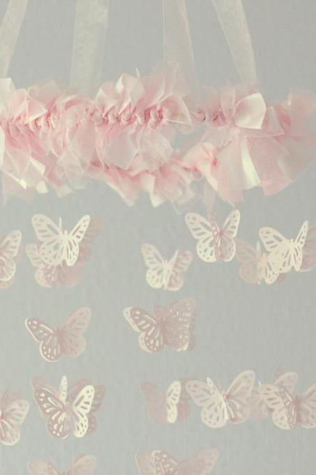 SMALL Butterfly Nursery Mobile in Light Pink