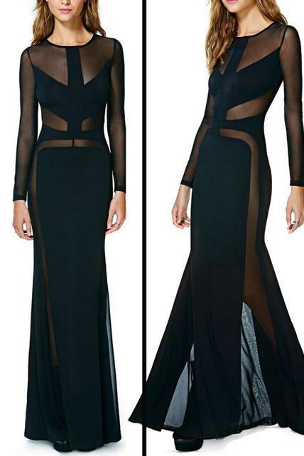 Floor Length Sexy Black Long Sleeve Party Dress