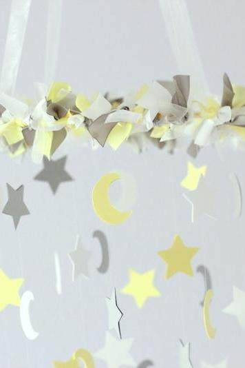 SMALL Star & Moon Nursery Mobile in Yellow, Gray & White
