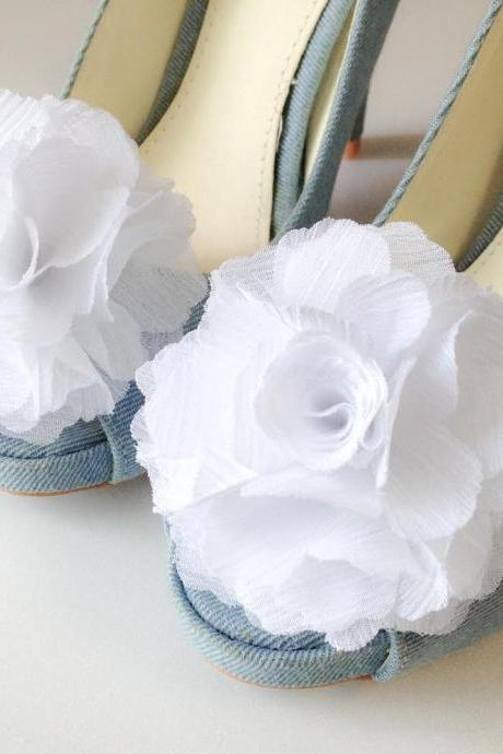 1 Pair(Set of 2)-PURE WHITE-Chiffon flower shoe clips for bridal wedding/Choose your color