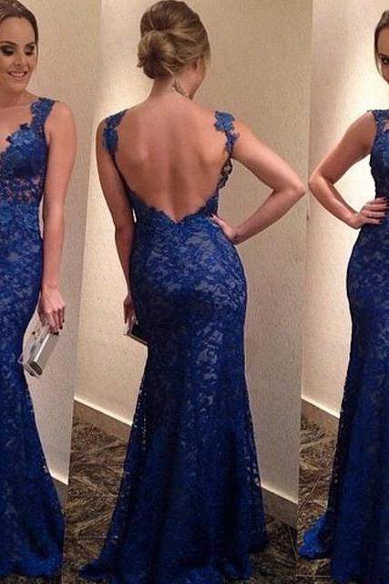 Cheap Sexy V Neck Tank Sleeveless Backless Blue Floor Length Dress