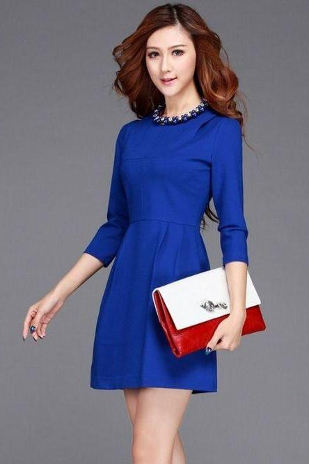 Blue Long Sleeve Beaded Dress