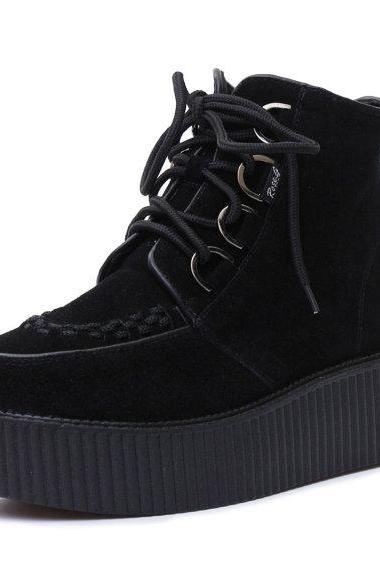 High Top Ankle Boots Shoes Martin Boots Ladies Girls Lace UP Goth Creepers Warm Shoes
