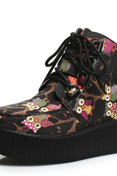 High Top Ankle Boots Shoes Cute Owl Pattern Martin Boots Ladies Girls Lace UP Goth Creepers Warm Shoes