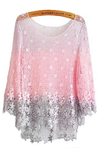 Fashion Gentle Flowers Gradient Crochet Blouse-Purple