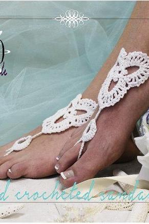 LOVELY LACE white handmade crochet barefoot sandals foot jewelry destination beach wedding bridesmaids bridal Catherine Cole Studio BF6