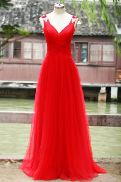 off shoulder V Neck Backless Tulle Red Prom Dress,Long party Dress,evening dress