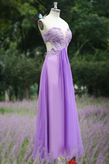 sweetheart Lavender Backless romantic lace chiffon Prom Dress,Long party Dress,evening dress