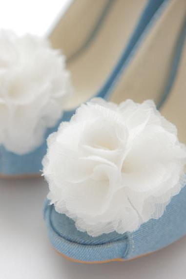 1 Pair(Set of 2)-Ivory-Chiffon flower shoe clips for bridal wedding/Choose your color