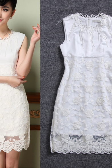 Embroidered Lace Sleeveless Dress