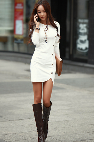 Chic Side Button design Long Sleeve Dress in 4 Colors