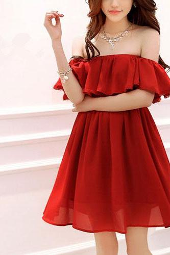Red Falbala Off Shoulder Stretchy Draped Boned Bodice Dress