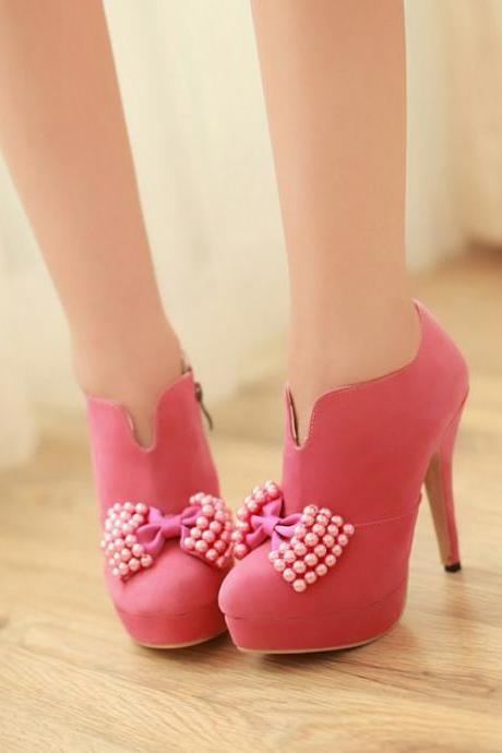 Cute Pink Side Zip Bow Embellished High Heels Fashion Shoes