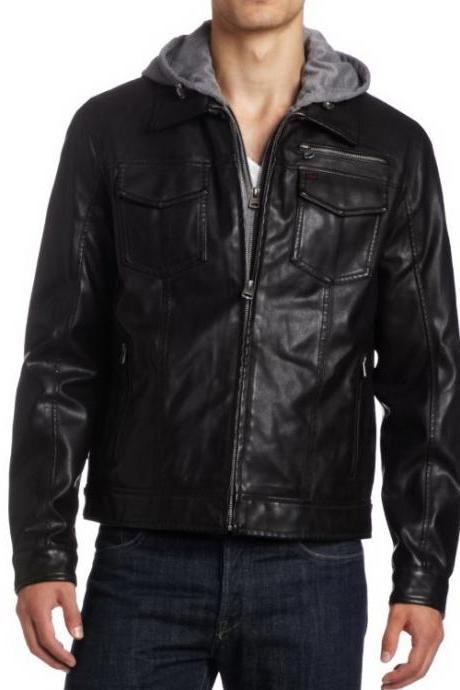 Handmade Custom New Men Shirt Style Collar Simple Leather Jacket, men leather jacket, Leather jacket for men, Biker Leather Jacket, Motorcycle Jacket