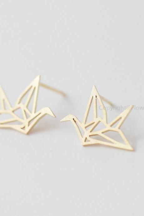 Origami Crane Earrings In Gold,Blessing Of The Earrings,Happiness Earrings