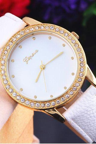 Fashion white evening rhinestones clean face woman watch