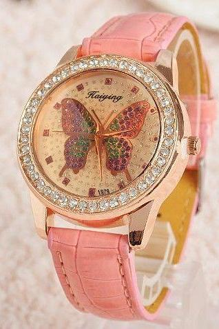 Butterfly cute teen pink rhinestones girl watch
