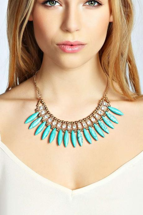 Rhinestone Cowry Statement Necklace