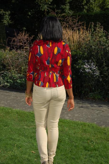 Orange Oriental Ankara Blazer