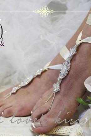 ENCHANTED BRIDE rhinestone silver ivory #Barefoot sandals