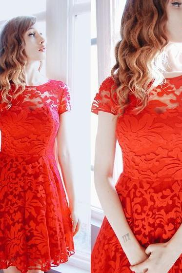 Sexy Perspective Lace Red Dress