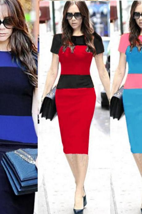 New Arrival Bodycon Dress Crew Neck Colorblock Stripe Patchwork Women Hot Short Sleeve