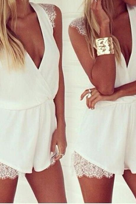 Lace Chiffon Jumpsuits Bodycon Romper