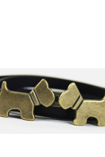 Puppy buckle leather black woman belt