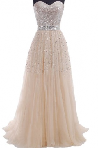 Ready To Ship Long sweetheart a-line champagne Formal prom Dress long with sequined court train