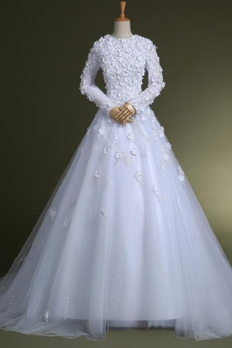 Custom made white Long Sleeve Lace wedding dresses, White Wedding gowns bridal dresses,floor length bridal gown,wedding bride dresses