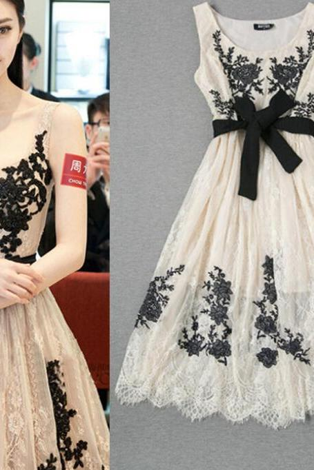 Fashion Ladies Temperament Lace Embroidered Gauze Dress