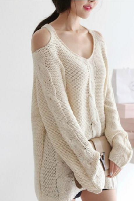 Knitted Plunge V Cold Shoulder Sweater