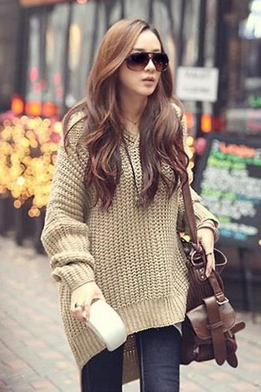 Irregular Loose Hooded Sweater