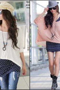 Polka Dot Vest + Loose Blouse Bat
