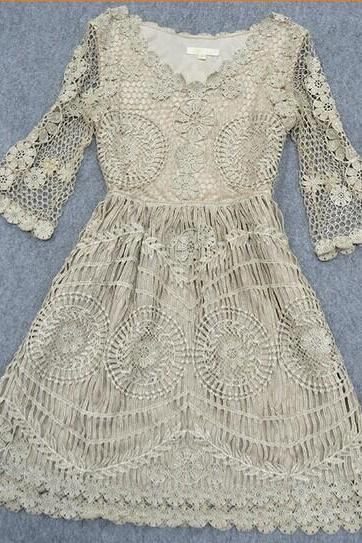 High-End Luxury Retro Heavy Water Soluble Spend Gold Thread Embroidery 7 Minutes Of Sleeve Dress