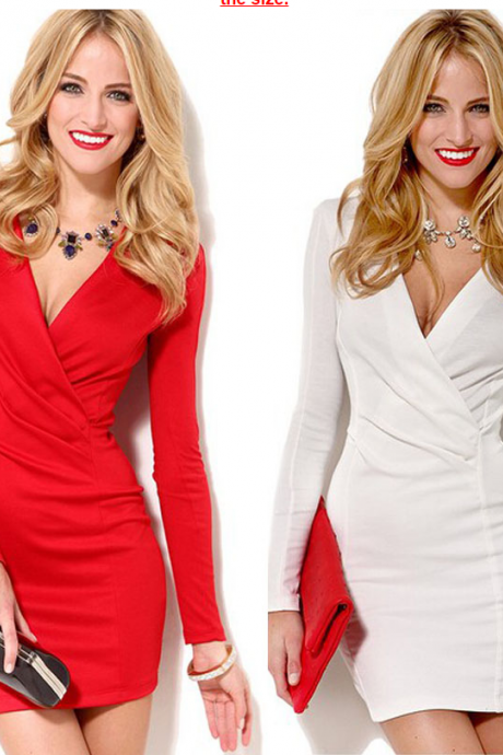 2015 Sexy Deep V-Neck Women Party Club Dress, Bodycon Dress,Long Sleeve Mini Office Vestidos Femininos Work Wear
