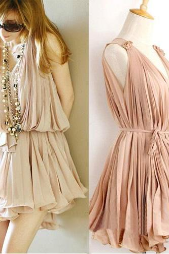 Pleated Chiffon V collar pink vest skirt bvhujv