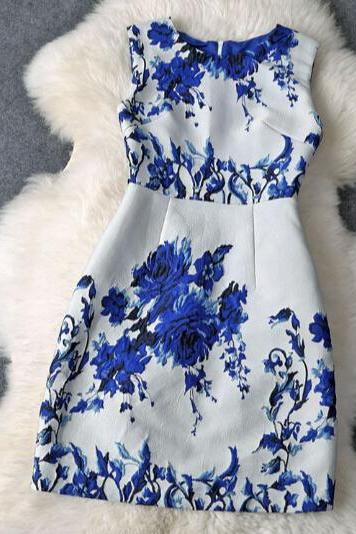 Elegant round neck sleeveless printed dress FG11102UY
