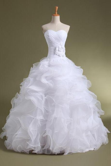 Ball Gown Organza wedding dresses, White Wedding gowns bridal dresses,floor length bridal gown,wedding bride dresses