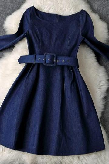 Slim and elegant blue denim dress YT11104UR