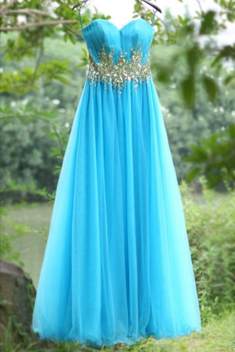 Sweetheart Blue Beaded Long prom dress Graduation gown