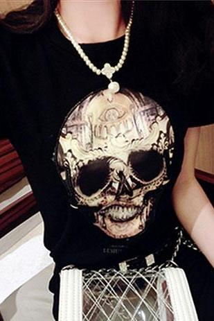 Skull Head Graphic Short Sleeve T Shirt Crewneck Top
