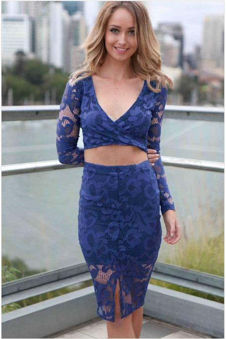 Sexy V-Neck Long Sleeve Hollow Out Floral Lace Party Dress