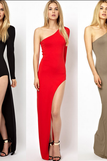 Shoulder -sleeved high-slit skirt and sexy evening dress party dress