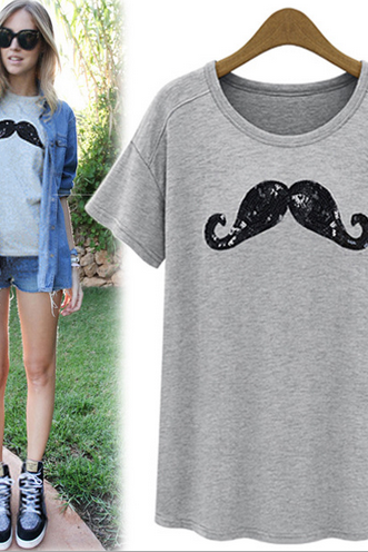 Mustache Print Short Sleeve T Shirt Crew Neck Top