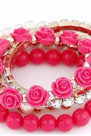 Roses flowers pearls bangle woman rose bracelet