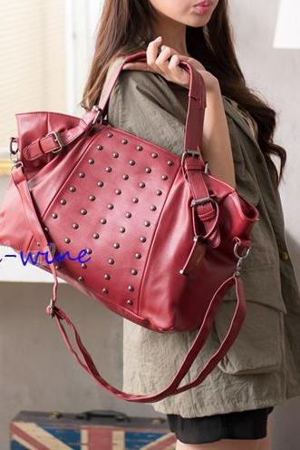 Whims And Cool Rivets Avant-Garde Shoulder Mobile Messenger Bag &Handbag