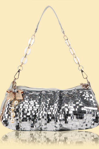Sequin Handbag, Baguette Bag with Bow Keychain