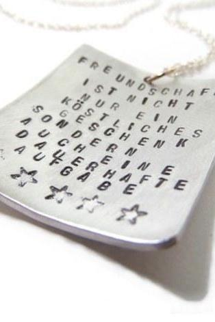 Hand Stamped Jewelry - Necklace Personalized with Text