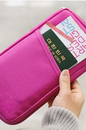 Pure Passport Tickets Function Travelling Clutch Bag - Rose Red